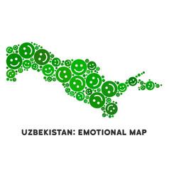 Joy uzbekistan map collage of smileys vector