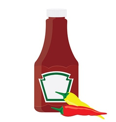 Ketchup bottle and chilli pepper vector