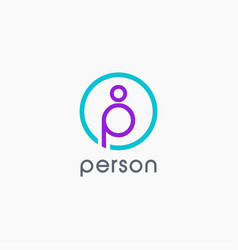 letter p for person logo icon template vector image