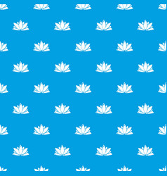 lotus flower pattern seamless blue vector image