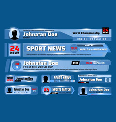 Lower third banners tv sport news bars template vector