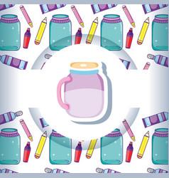 Mason jar with crafts pattern background vector