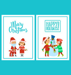merry christmas happy holidays postcards parents vector image