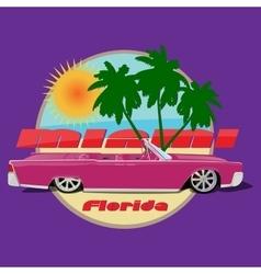 Miami florida car cadillac cabriolet print vector