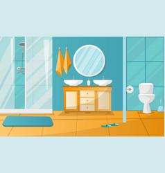 Modern bathroom interior with shower cabin vector
