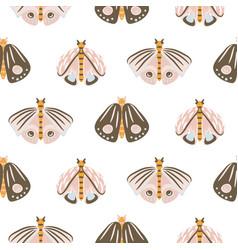 moth cartoon baby seamless pattern vector image