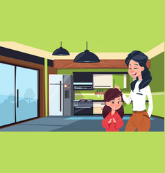 mother and daughter in modern kitchen over fridge vector image vector image