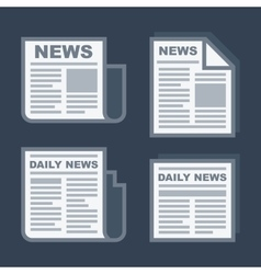 Newspaper Icons Set on Dark Background vector image