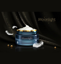 Night cream for sensitive skin realistic vector