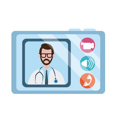 Online doctor physician tablet computer vector