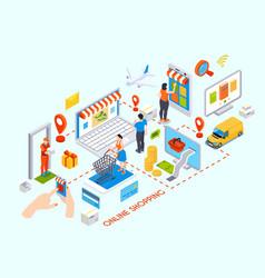 Online shopping isometric vector