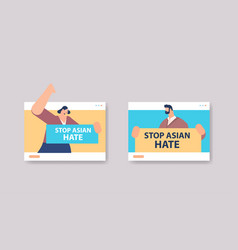 people holding text banners against bullying vector image