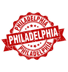 Philadelphia round ribbon seal vector