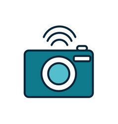photo camera connection internet things line vector image