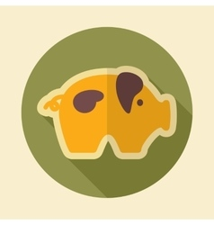 Pig retro flat icon with long shadow vector
