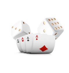 playing cards poker dice fly casino on white vector image