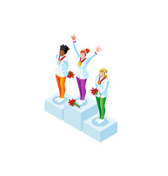 Podium clipart winter sports winners vector