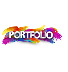 Portfolio paper banner with colorful brush strokes vector