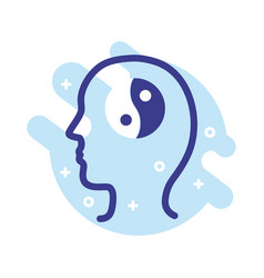 Profile with yin yang symbol mental health line vector