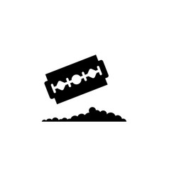 Razor blade with pile cocaine flat icon vector