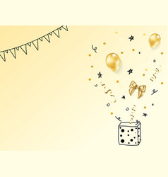 Realistic gold birthday party objects collection vector
