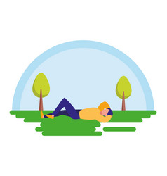 Relaxed man in the landscape vector