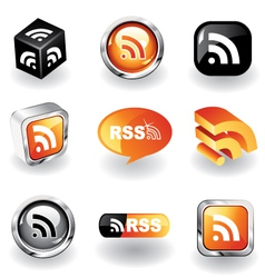 rss feed icons vector image