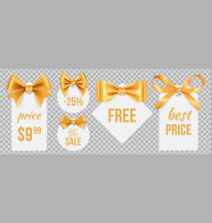 Sale tags gold silk bows and promo badges vector
