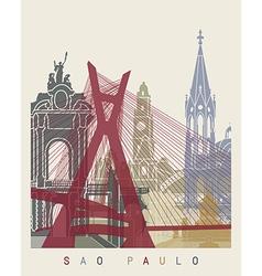 Sao Paulo skyline poster vector image