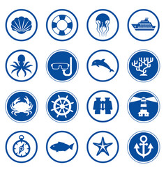 Sea and ocean flat icons collection vector