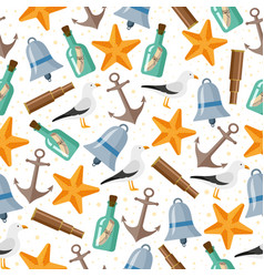 seamless pattern of flat cartoon nautical elements vector image