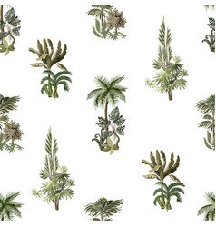 seamless pattern with exotic trees such us palm vector image