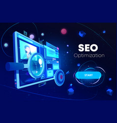 seo optimization marketing business technology vector image
