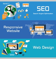 SEO responsive website and web design flat banners vector