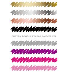 set colorful crayon design elements vector image