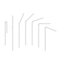set realistic white drinking straws vector image