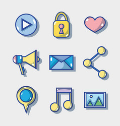 set social media technology to communication vector image