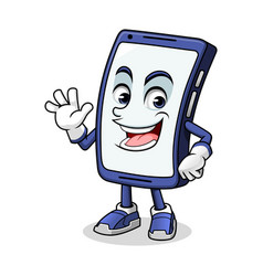 smartphone mascot waving vector image