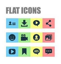 Social icons set with media emoji profile vector