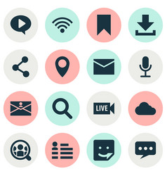 social icons set with search letter people and vector image