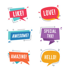 speech bubble with short messages like love vector image