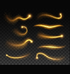 stars with glowing golden sparkles light effects vector image