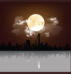 stunning moon over city with reflection vector image