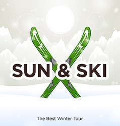 Sun Ski and sun snow background vector image