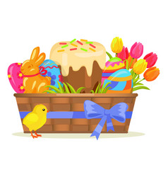 sweet cake chocolate bunny color eggs on easter vector image