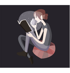 the girl is reading a book flat vector image