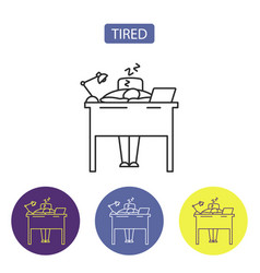 tired line icon vector image