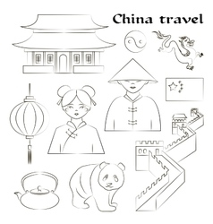 Travel to China Set of icons vector image