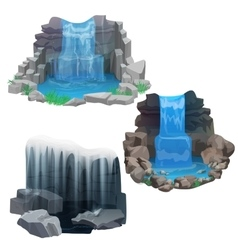 Tropical jungle waterfall set Ice Frozen vector