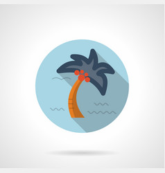 tropical palm flat blue round icon vector image